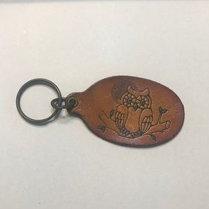 Handmade Leather Owl Stamped Retro Keychain